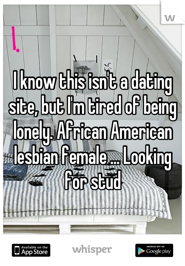 I know this isn't a dating site, but I'm tired of being lonely. African American lesbian female ... Looking for stud