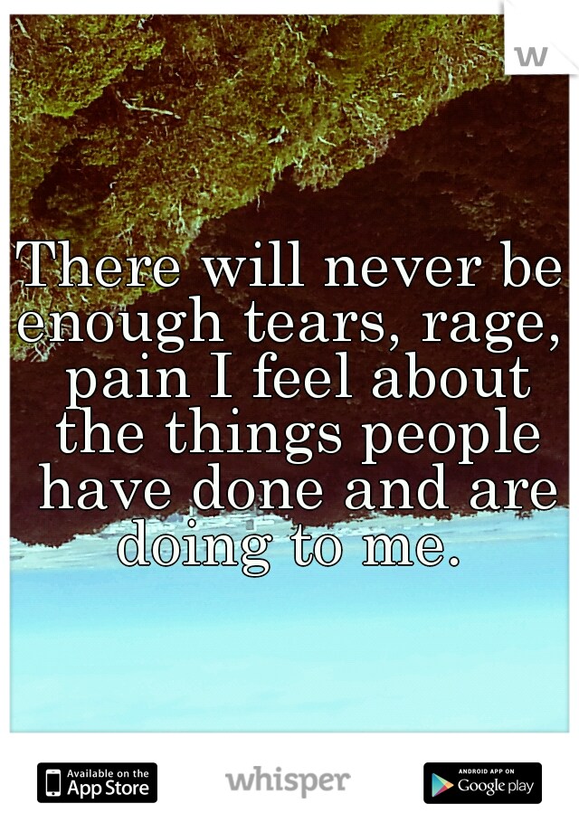 There will never be enough tears, rage,  pain I feel about the things people have done and are doing to me.