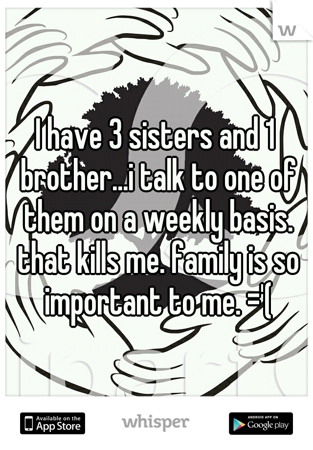 I have 3 sisters and 1 brother...i talk to one of them on a weekly basis. that kills me. family is so important to me. ='(