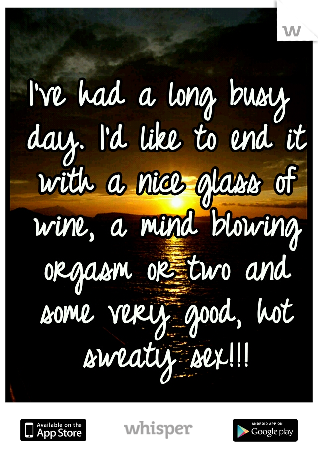 I've had a long busy day. I'd like to end it with a nice glass of wine, a mind blowing orgasm or two and some very good, hot sweaty sex!!!