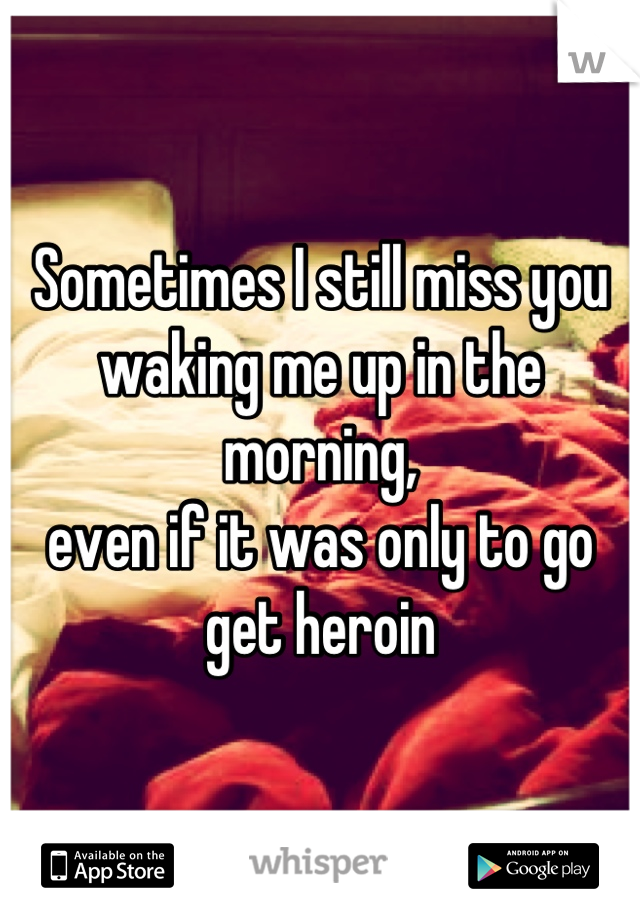 Sometimes I still miss you waking me up in the morning, even if it was only to go get heroin