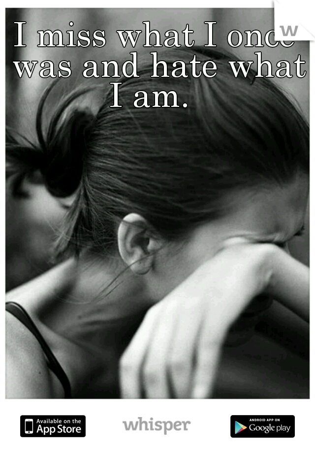 I miss what I once was and hate what I am.