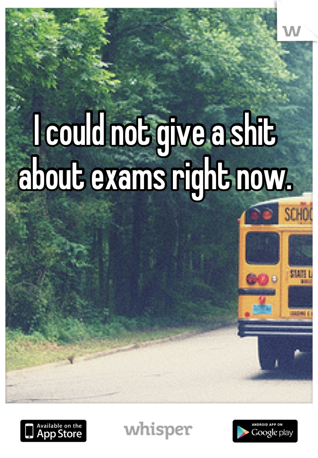 I could not give a shit  about exams right now.