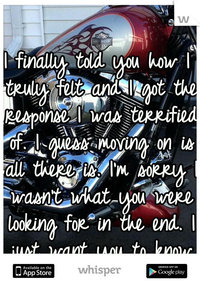 I finally told you how I truly felt and I got the response I was terrified of. I guess moving on is all there is. I'm sorry I wasn't what you were looking for in the end. I just want you to know I....
