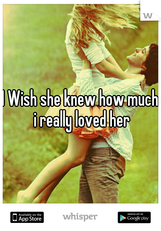 I Wish she knew how much i really loved her