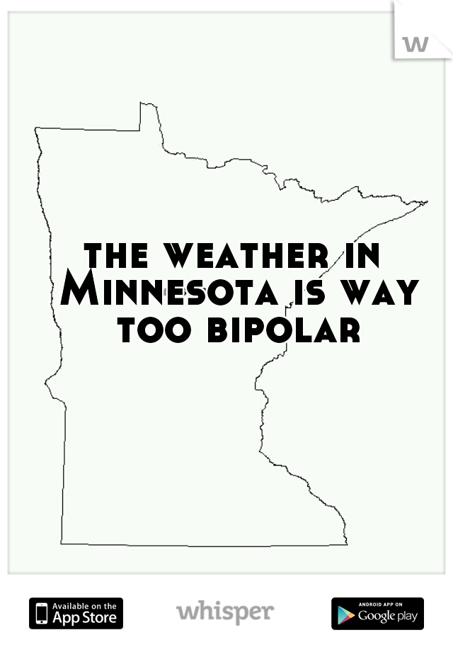 the weather in Minnesota is way too bipolar