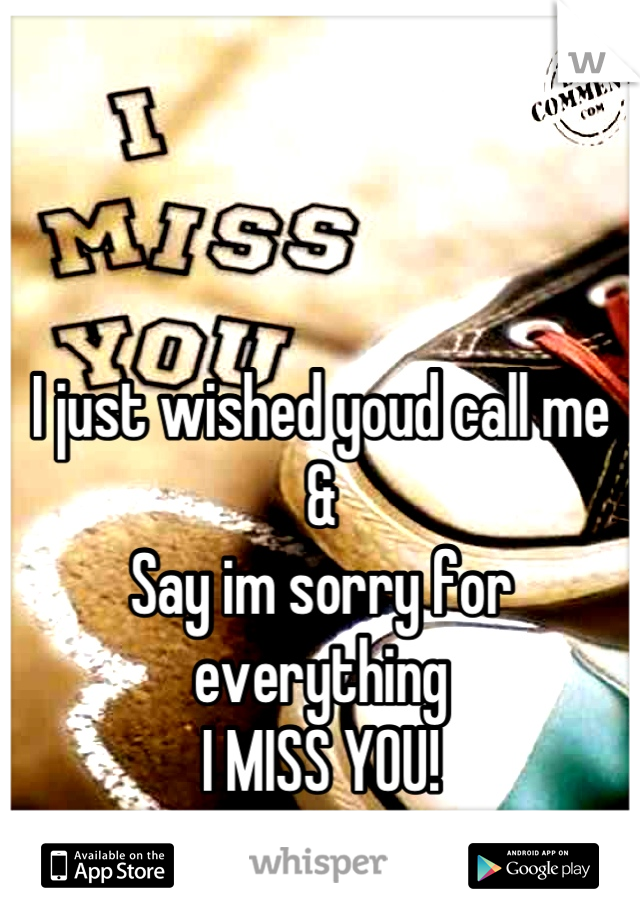 I just wished youd call me  & Say im sorry for everything I MISS YOU! <'3