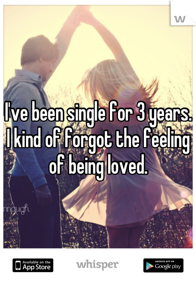 I've been single for 3 years. I kind of forgot the feeling of being loved.