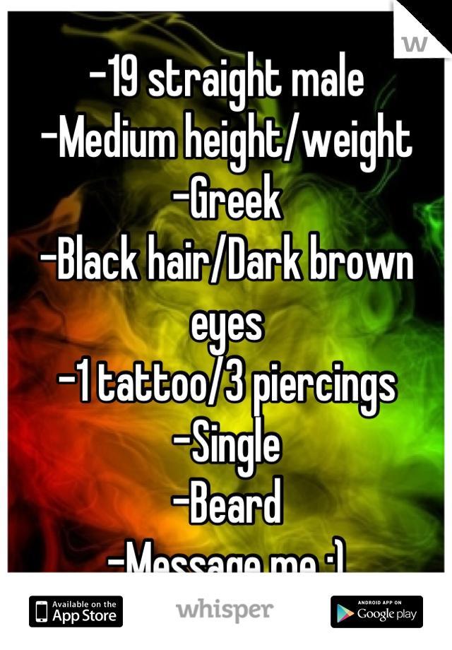 -19 straight male -Medium height/weight -Greek -Black hair/Dark brown eyes -1 tattoo/3 piercings -Single -Beard -Message me :)