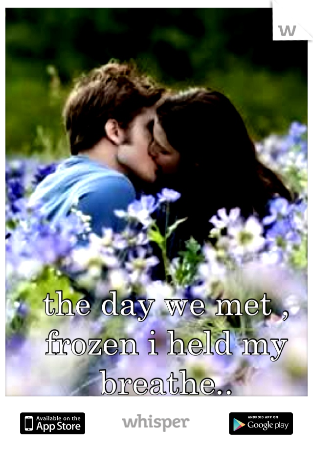 the day we met ,  frozen i held my breathe..