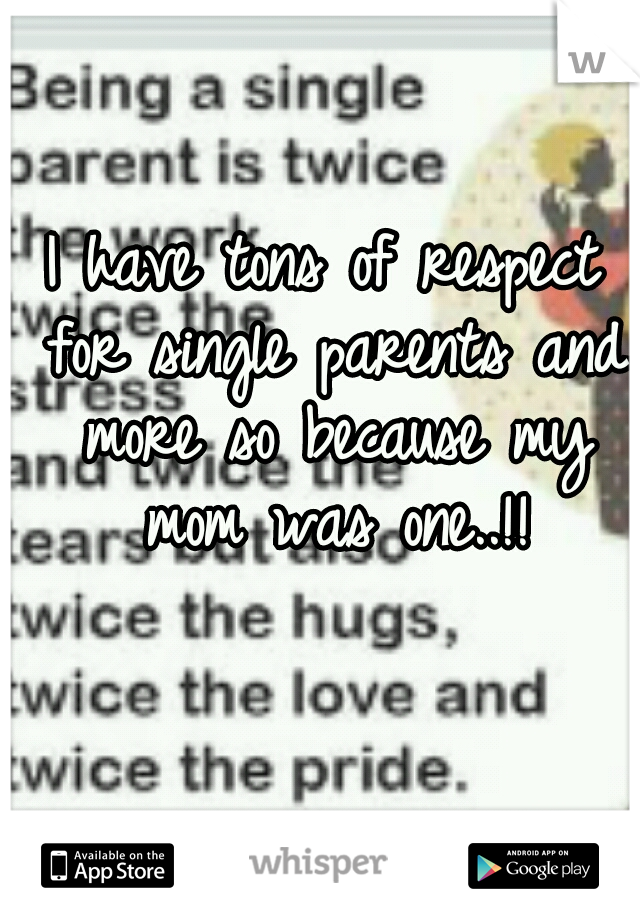I have tons of respect for single parents and more so because my mom was one..!!