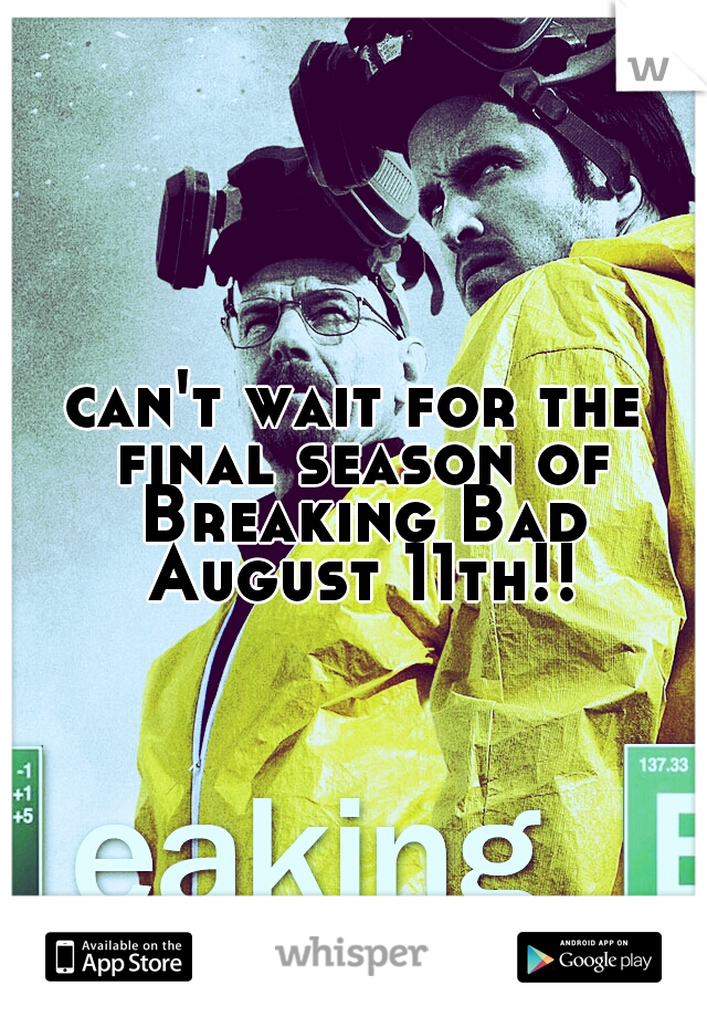 can't wait for the final season of Breaking Bad August 11th!!