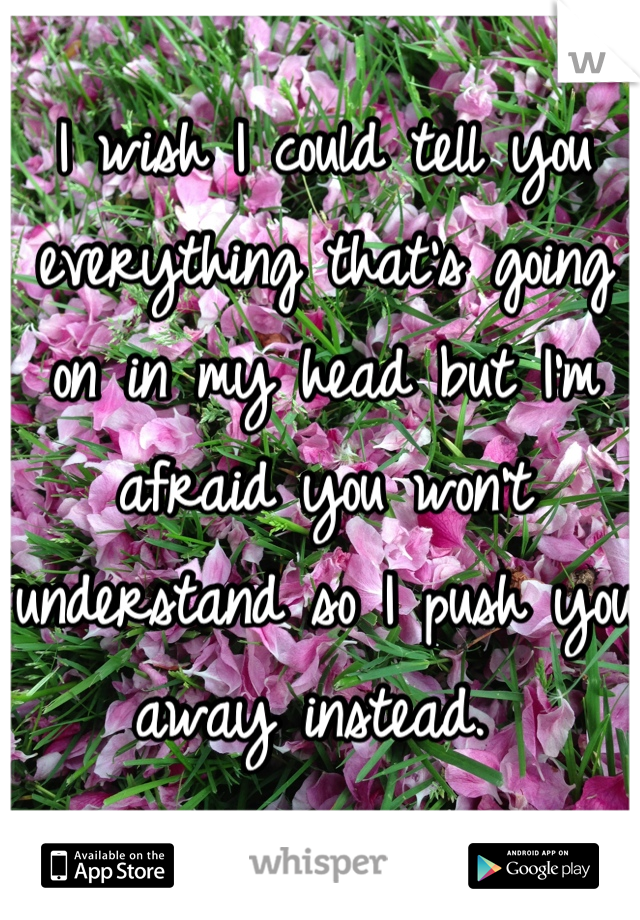 I wish I could tell you everything that's going on in my head but I'm afraid you won't understand so I push you away instead.