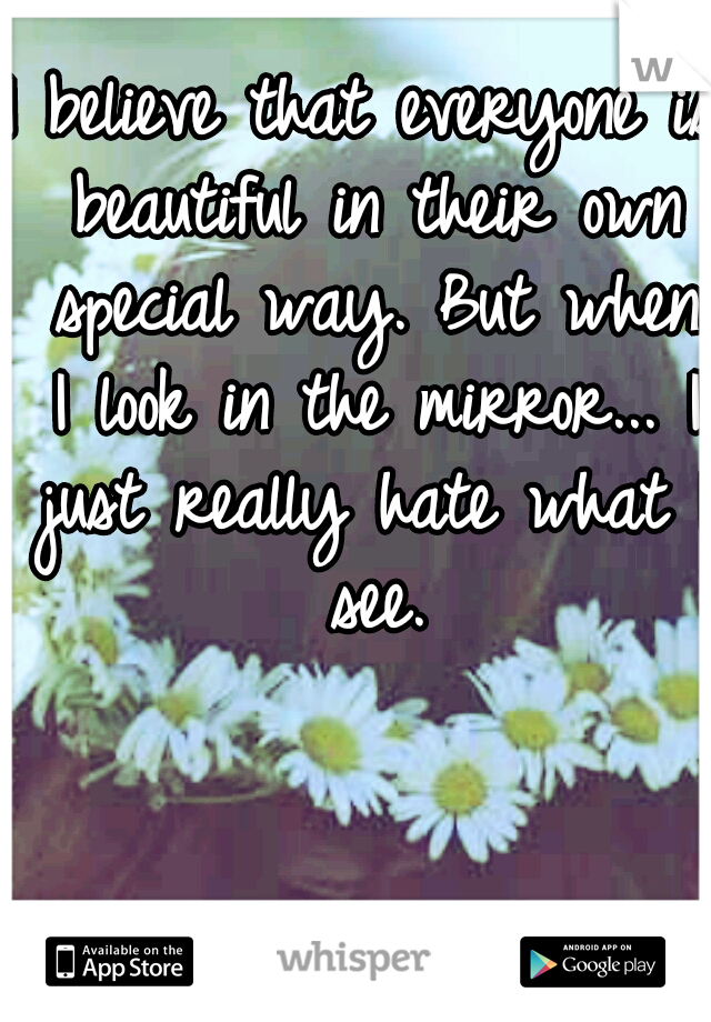 I believe that everyone is beautiful in their own special way. But when I look in the mirror... I just really hate what I see.