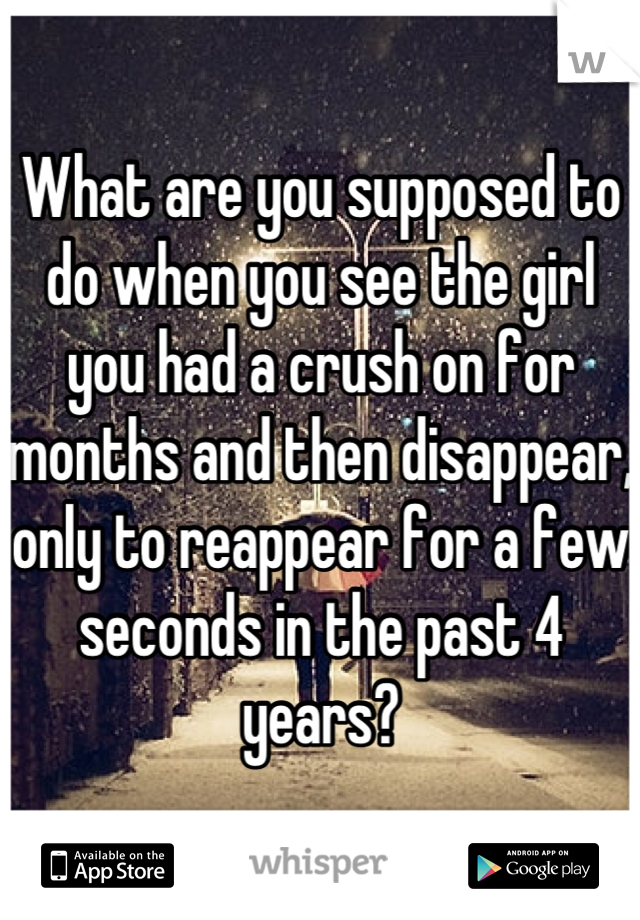 What are you supposed to do when you see the girl you had a crush on for months and then disappear, only to reappear for a few seconds in the past 4 years?