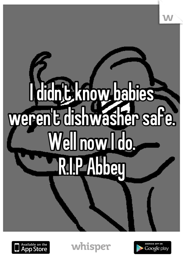 I didn't know babies weren't dishwasher safe. Well now I do.  R.I.P Abbey