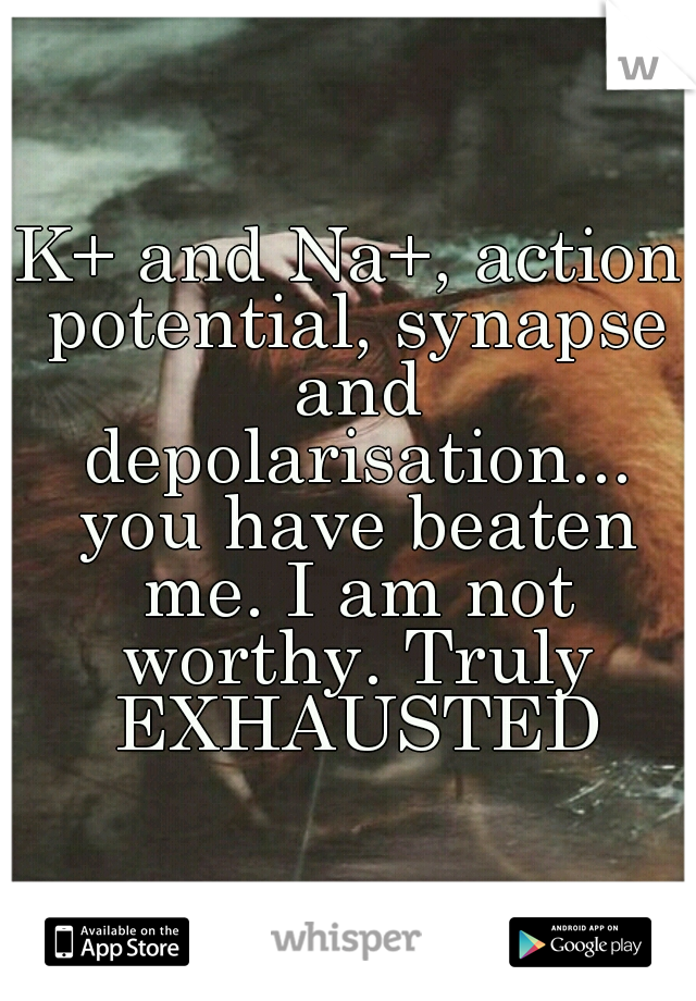 K+ and Na+, action potential, synapse and depolarisation... you have beaten me. I am not worthy. Truly EXHAUSTED