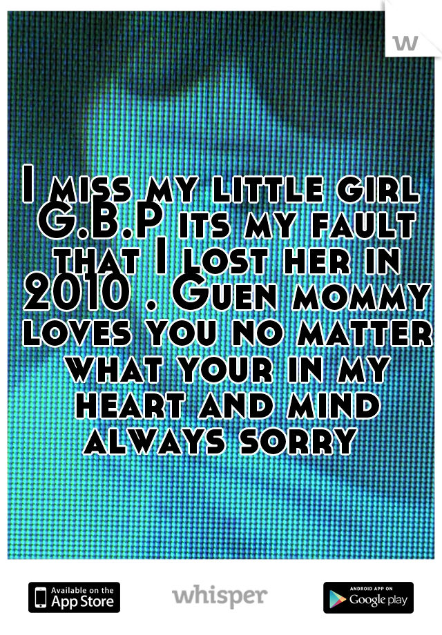 I miss my little girl G.B.P its my fault that I lost her in 2010 . Guen mommy loves you no matter what your in my heart and mind always sorry