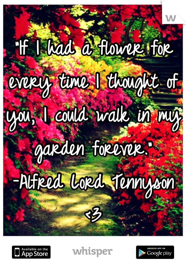 """""""If I had a flower for every time I thought of you, I could walk in my garden forever."""" -Alfred Lord Tennyson <3"""