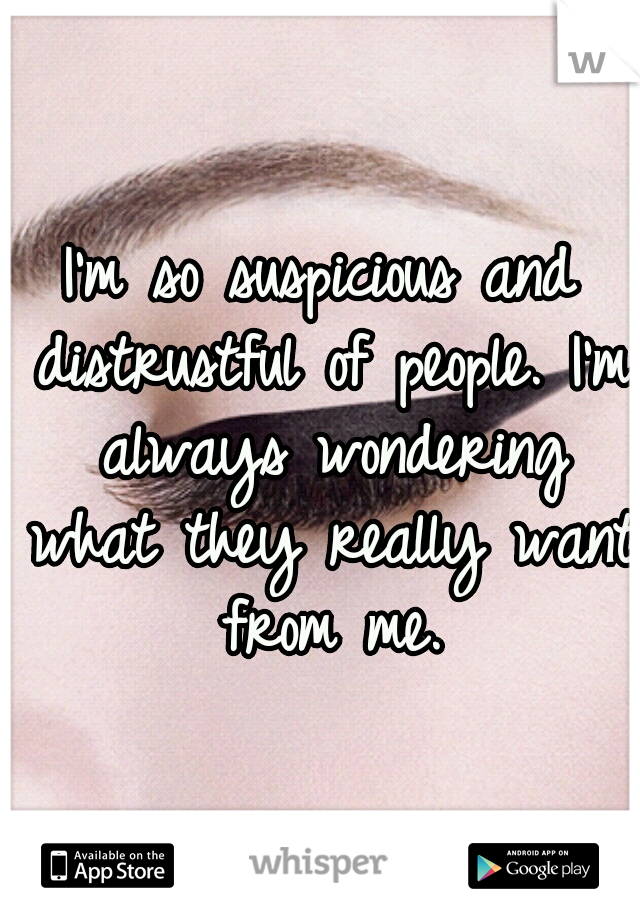 I'm so suspicious and distrustful of people. I'm always wondering what they really want from me.