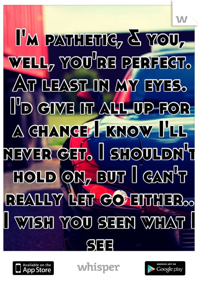 I'm pathetic, & you, well, you're perfect. At least in my eyes. I'd give it all up for a chance I know I'll never get. I shouldn't hold on, but I can't really let go either.. I wish you seen what I see