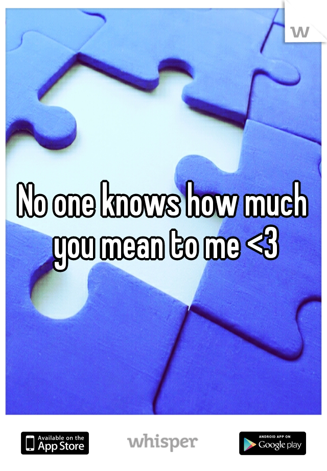 No one knows how much you mean to me <3