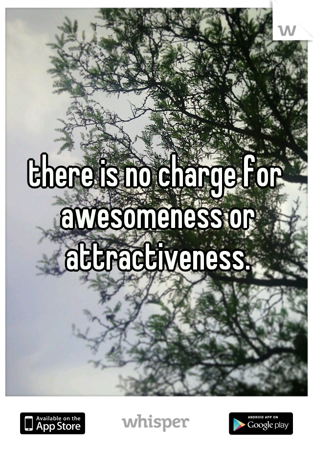there is no charge for awesomeness or attractiveness.