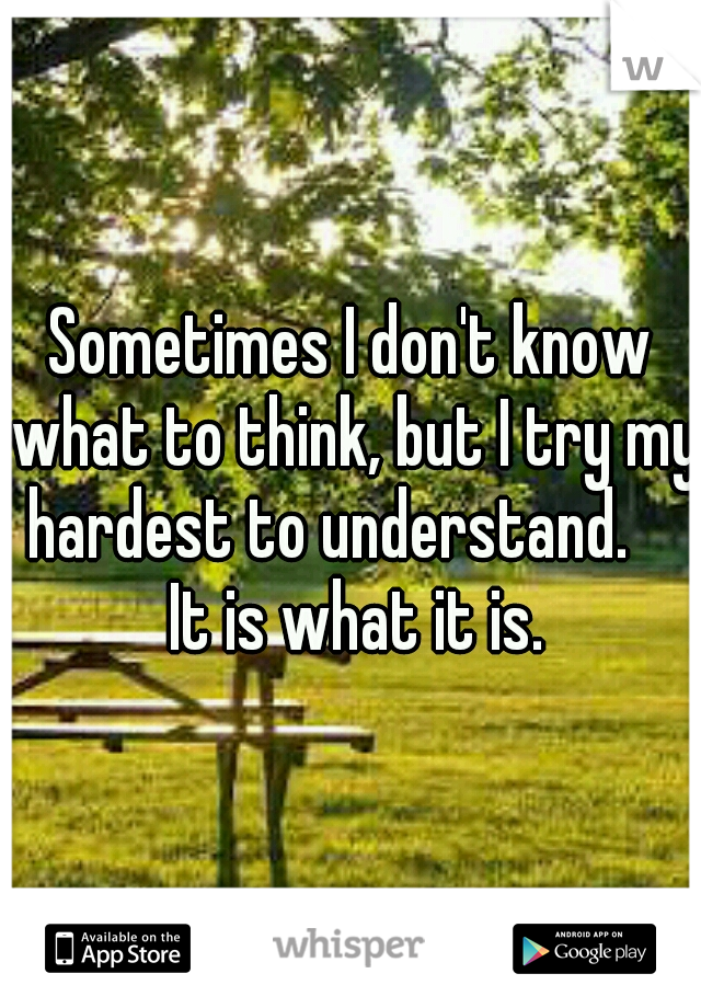 Sometimes I don't know what to think, but I try my hardest to understand.     It is what it is.