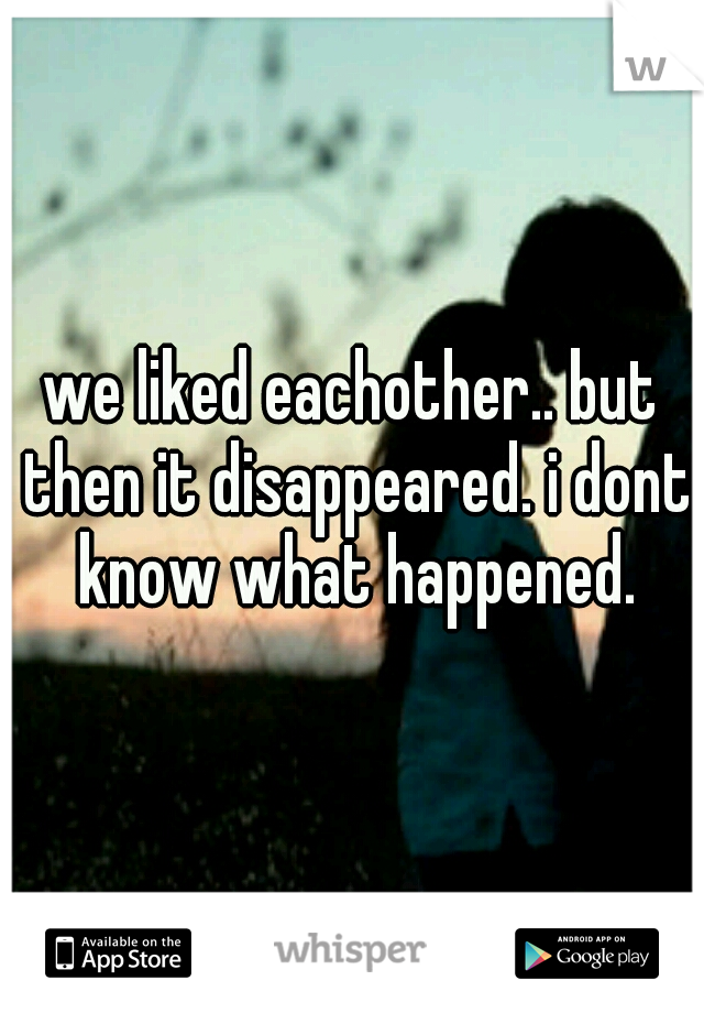 we liked eachother.. but then it disappeared. i dont know what happened.