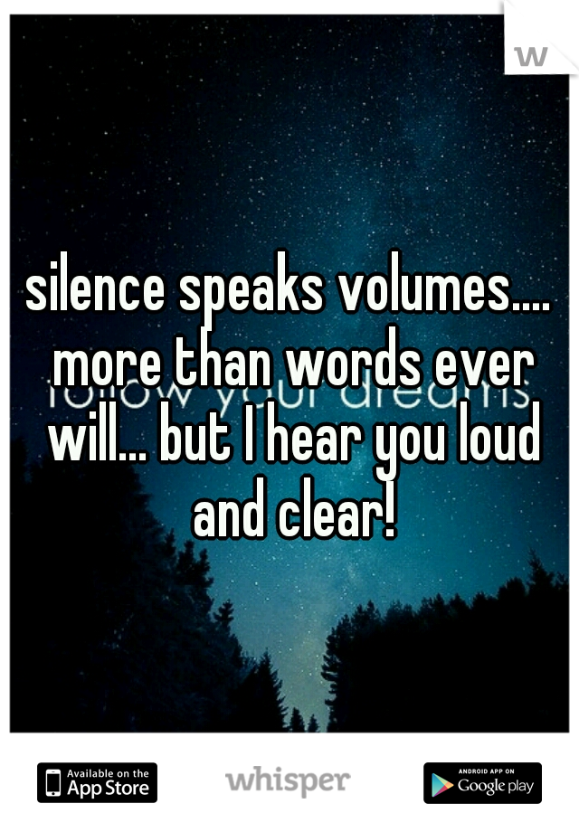 silence speaks volumes.... more than words ever will... but I hear you loud and clear!