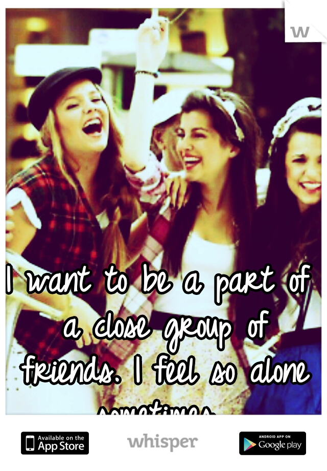 I want to be a part of a close group of friends. I feel so alone sometimes...