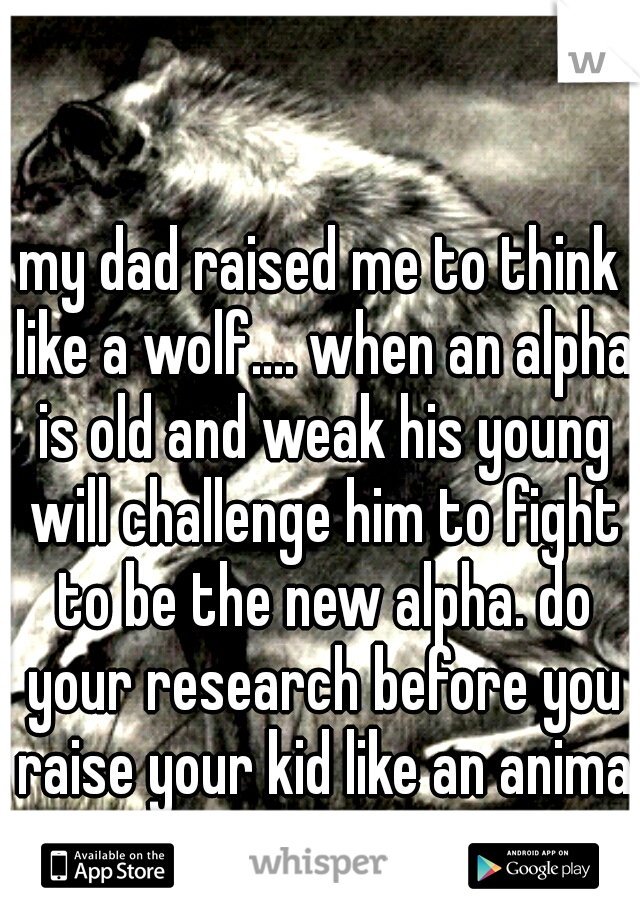 my dad raised me to think like a wolf.... when an alpha is old and weak his young will challenge him to fight to be the new alpha. do your research before you raise your kid like an animal