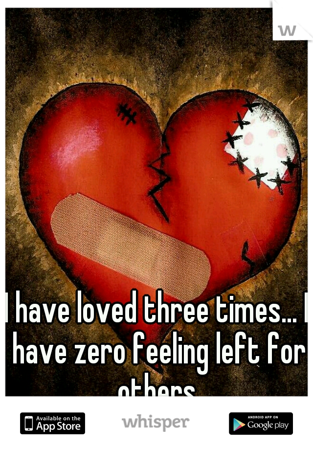I have loved three times... I have zero feeling left for others.