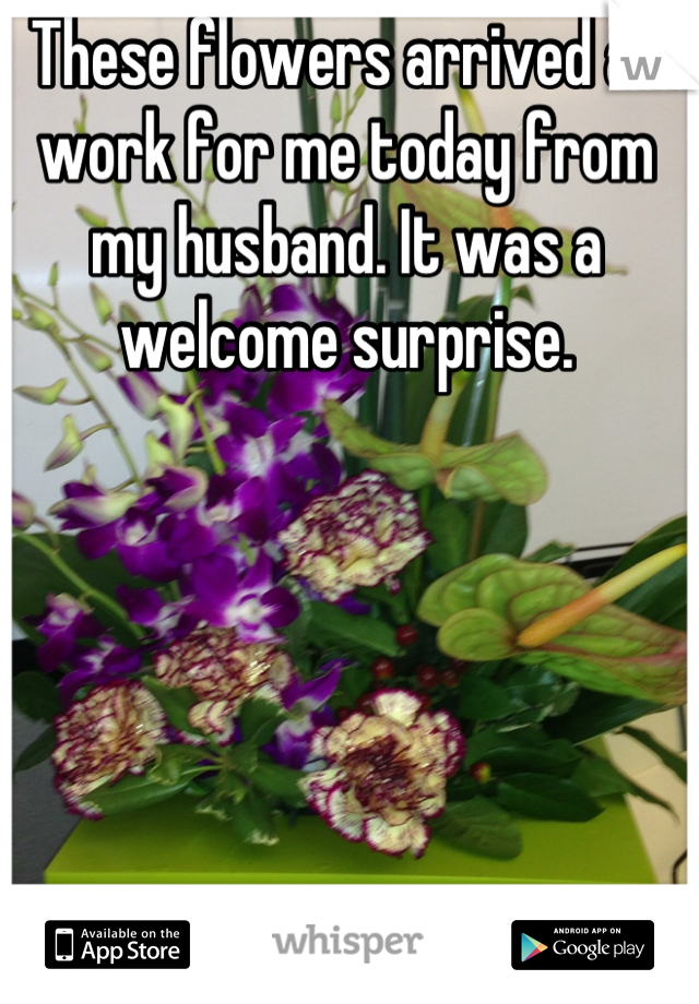 These flowers arrived at work for me today from my husband. It was a welcome surprise.