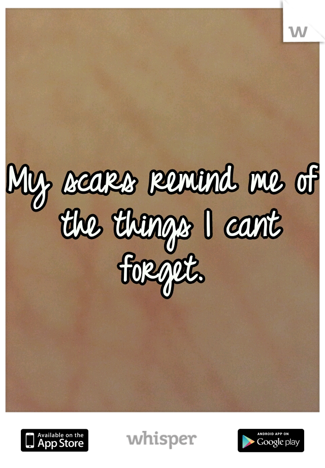 My scars remind me of the things I cant forget.
