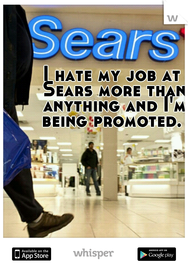 I hate my job at Sears more than anything and I'm being promoted.