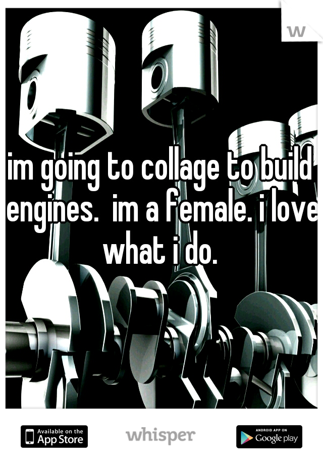 im going to collage to build engines.  im a female. i love what i do.