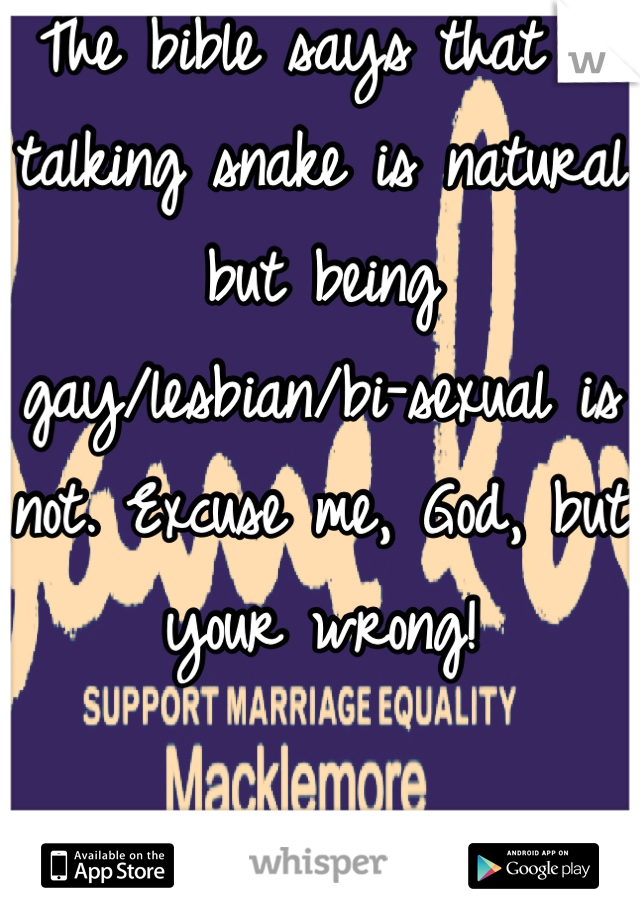 The bible says that a talking snake is natural but being gay/lesbian/bi-sexual is not. Excuse me, God, but your wrong!  Macklemore- Same Love ft. Ryan Lewis
