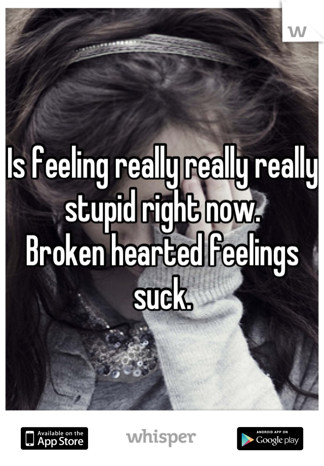 Is feeling really really really stupid right now.  Broken hearted feelings suck.