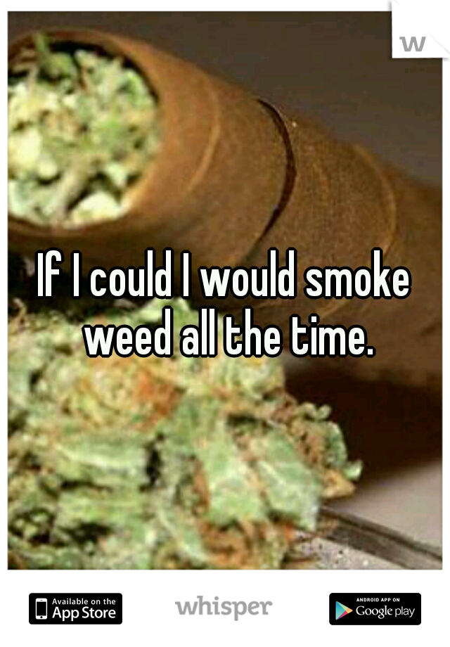 If I could I would smoke weed all the time.