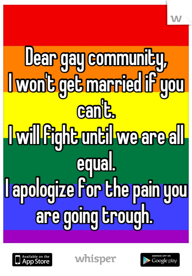 Dear gay community, I won't get married if you can't.  I will fight until we are all equal.  I apologize for the pain you are going trough.