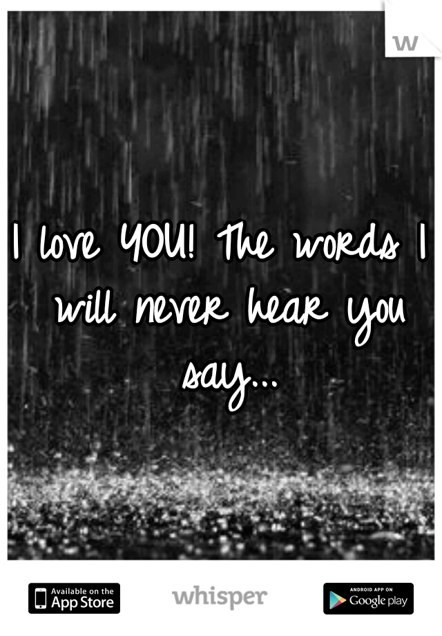 I love YOU! The words I will never hear you say...
