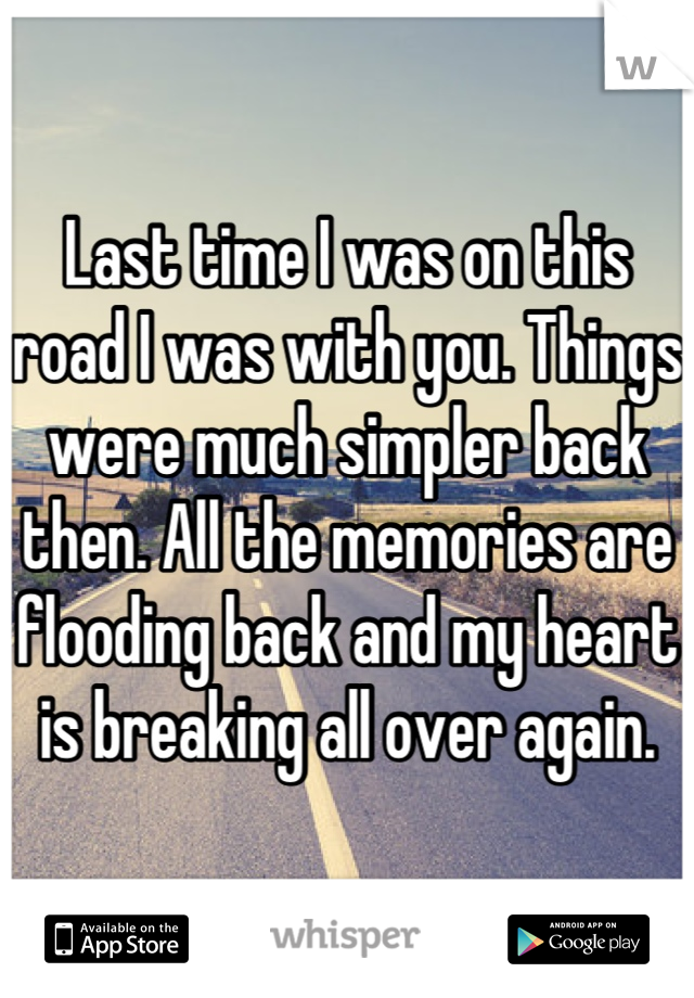 Last time I was on this road I was with you. Things were much simpler back then. All the memories are flooding back and my heart is breaking all over again.