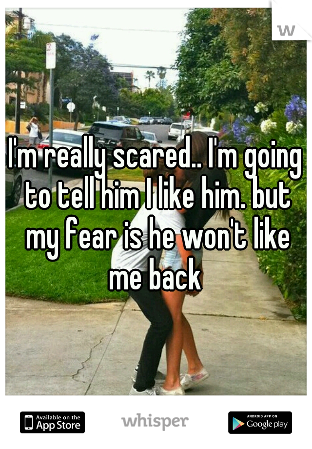 I'm really scared.. I'm going to tell him I like him. but my fear is he won't like me back