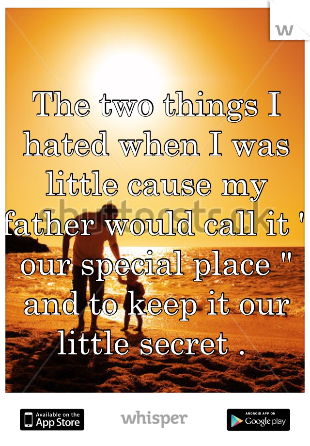 """The two things I hated when I was little cause my father would call it """" our special place """" and to keep it our little secret ."""