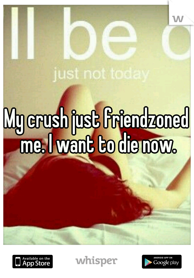 My crush just friendzoned me. I want to die now.