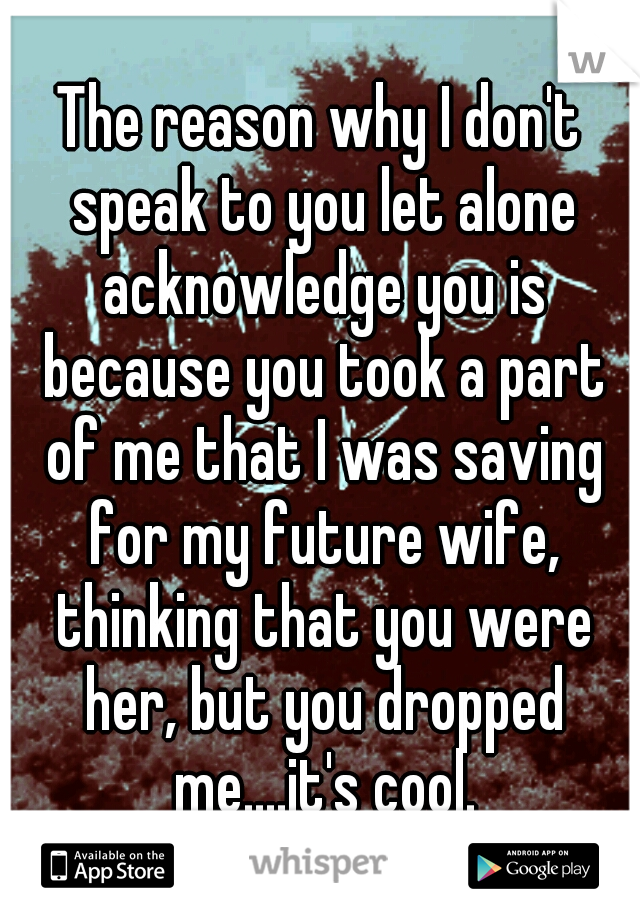 The reason why I don't speak to you let alone acknowledge you is because you took a part of me that I was saving for my future wife, thinking that you were her, but you dropped me....it's cool.