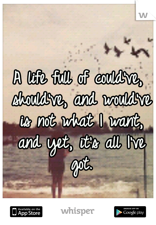 A life full of could've, should've, and would've is not what I want, and yet, it's all I've got.
