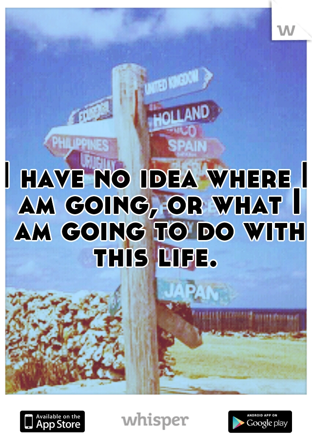 I have no idea where I am going, or what I am going to do with this life.