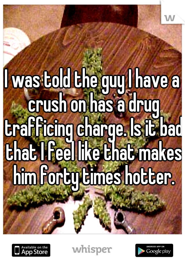 I was told the guy I have a crush on has a drug trafficing charge. Is it bad that I feel like that makes him forty times hotter.
